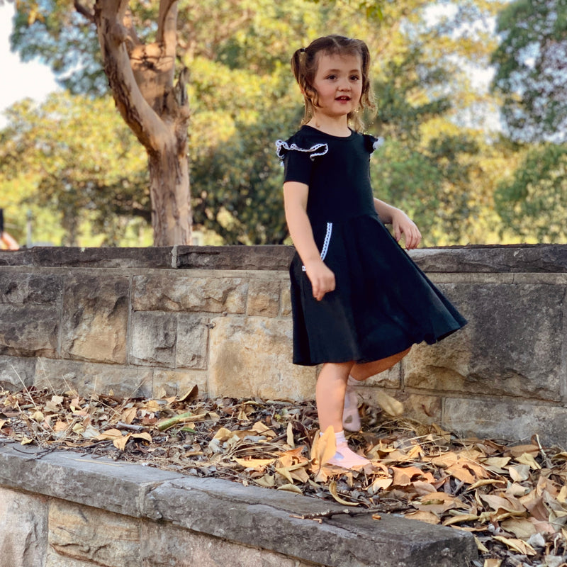 BLACK TWIRLY GIRL DRESS