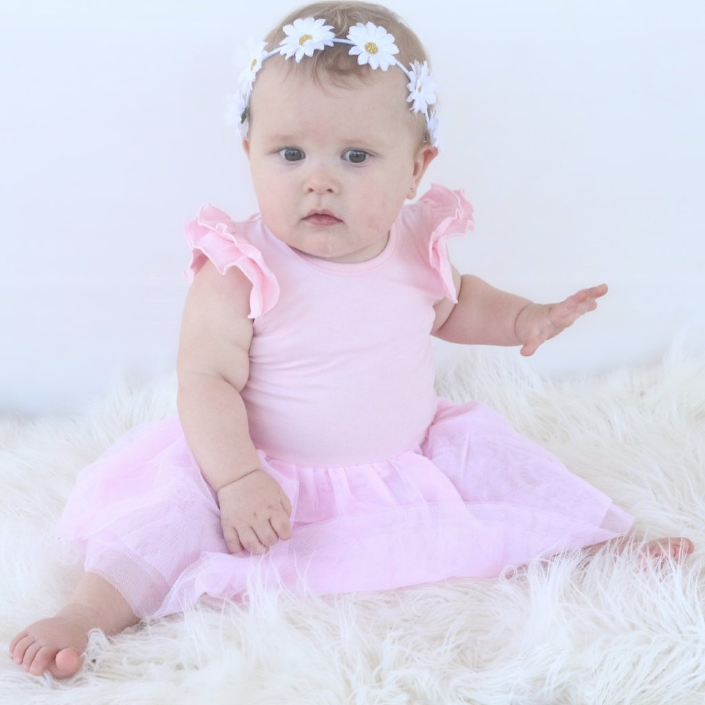 Baby Pink Tutu Flutter romper /dress - Toots Kids