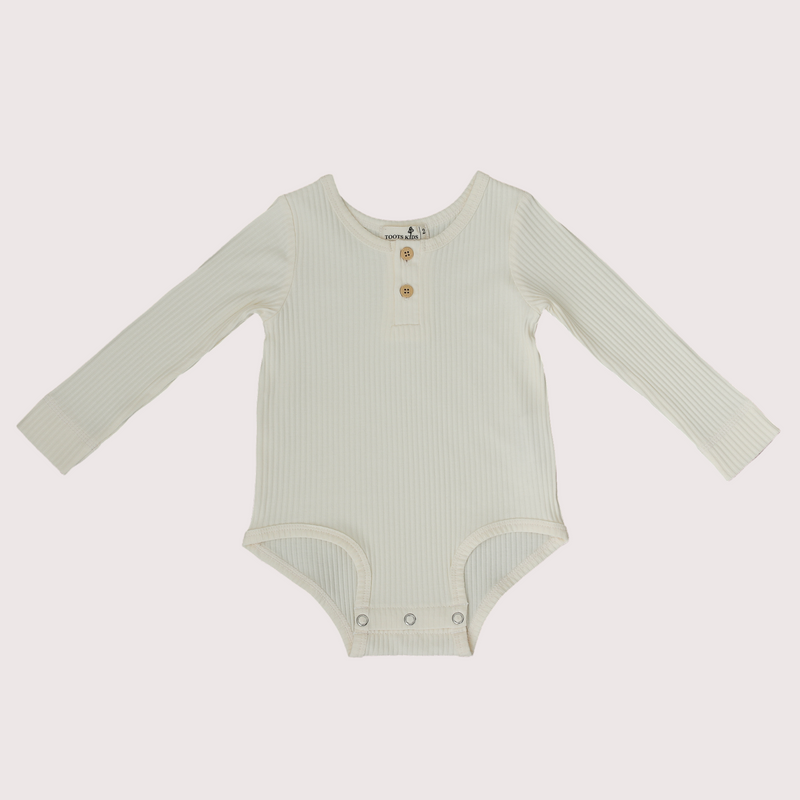 white ribbed Long sleeve baby kid toddler