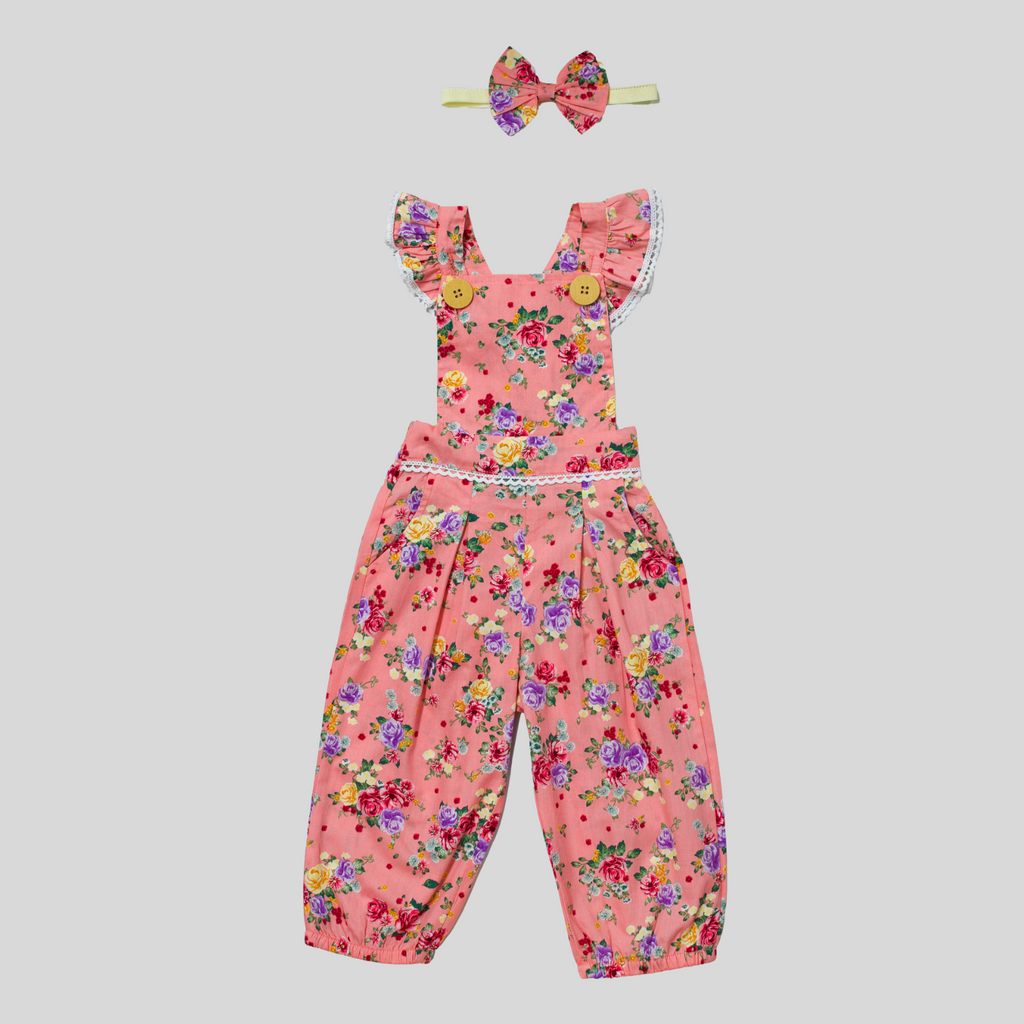 toddler girls flower overalls
