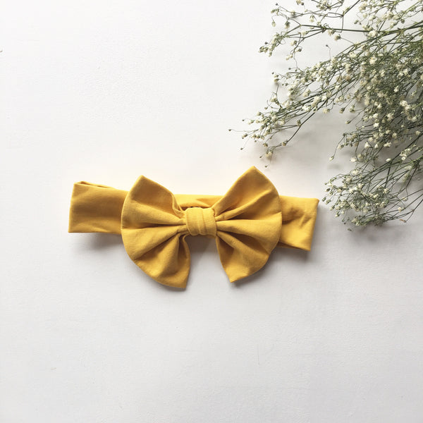 Mustard Knit bow headband - Toots Kids