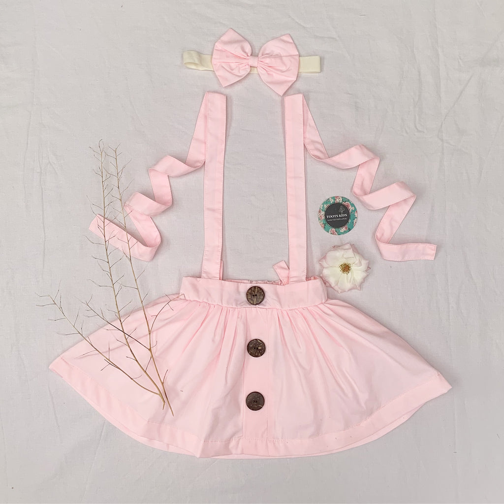 Marshmallow pink Suspender Skirt - Toots Kids