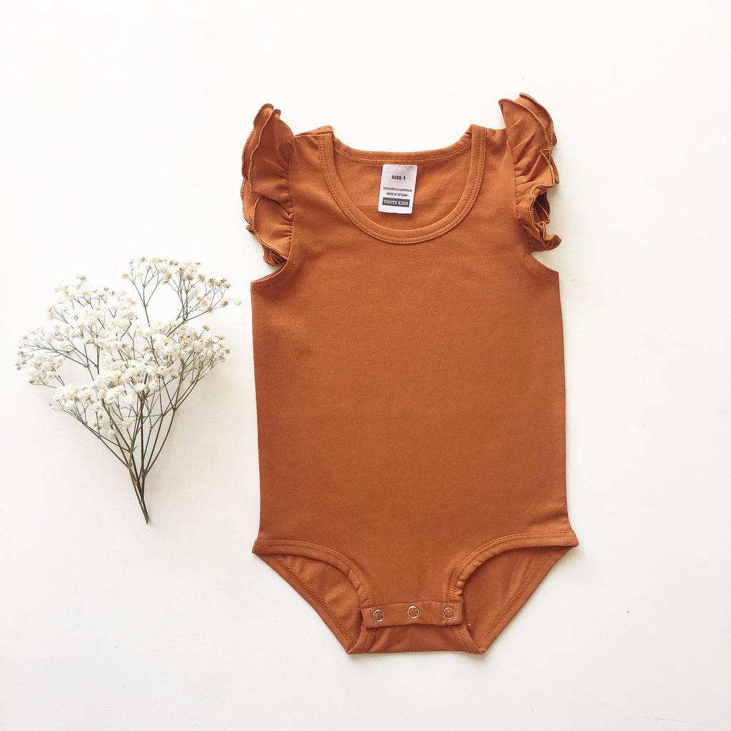 Burnt Orange Sleeveless Flutter