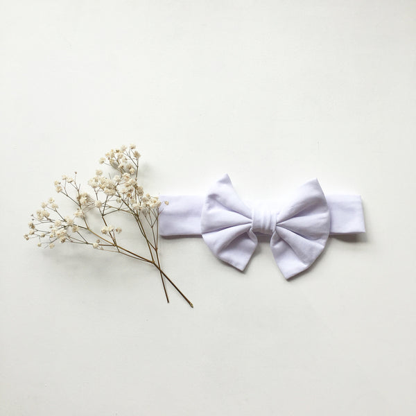 White Knit bow headband - Toots Kids