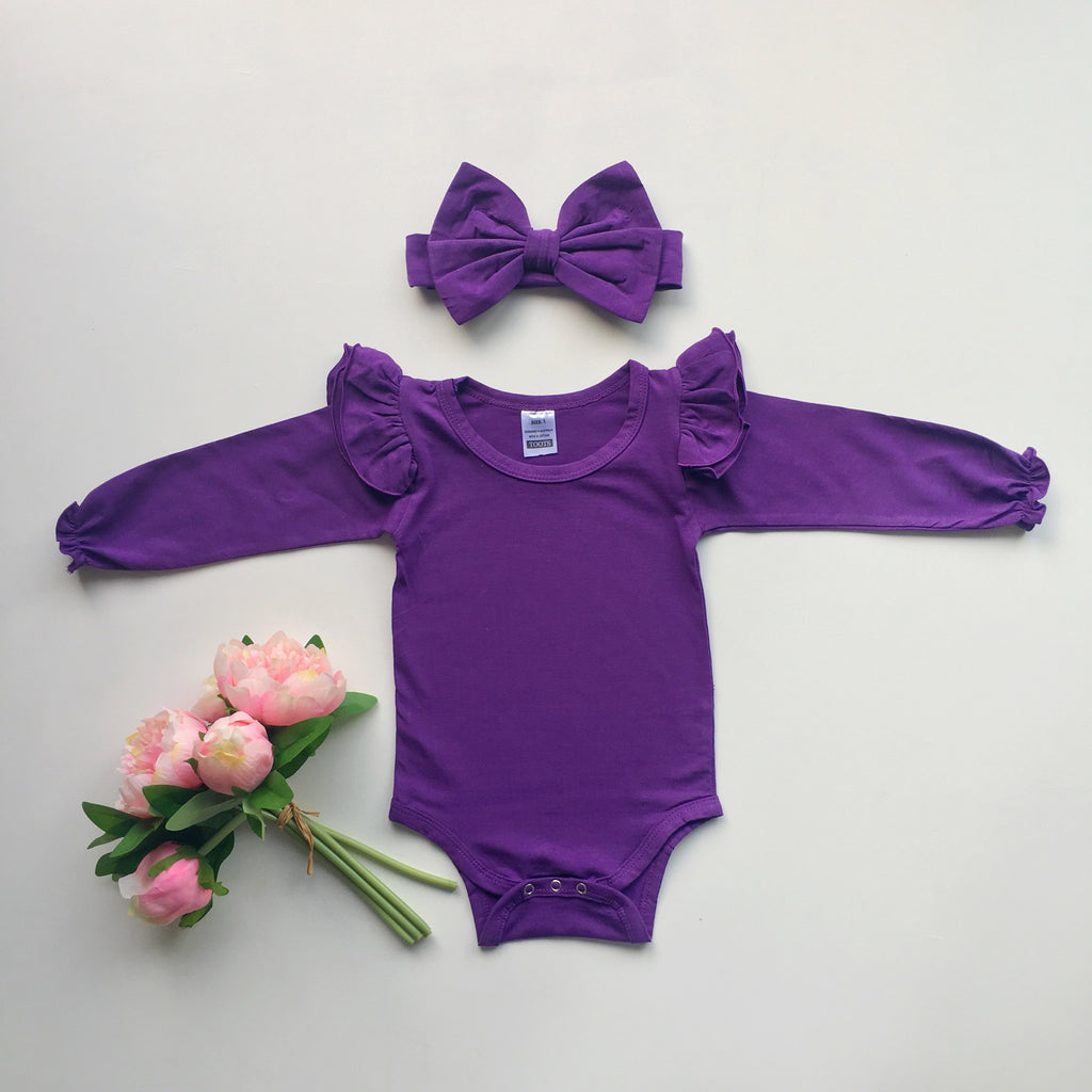 Purple Ruffled  long sleeve + headband