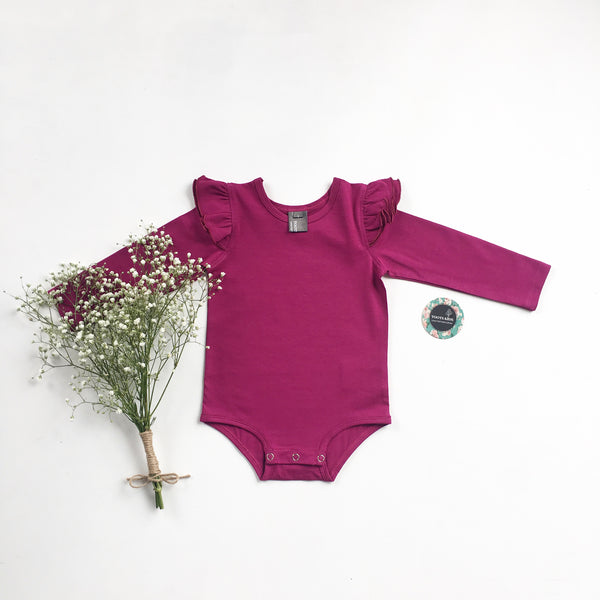 Magenta long sleeve flutter - Toots Kids