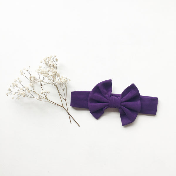 Purple Knit bow headband - Toots Kids