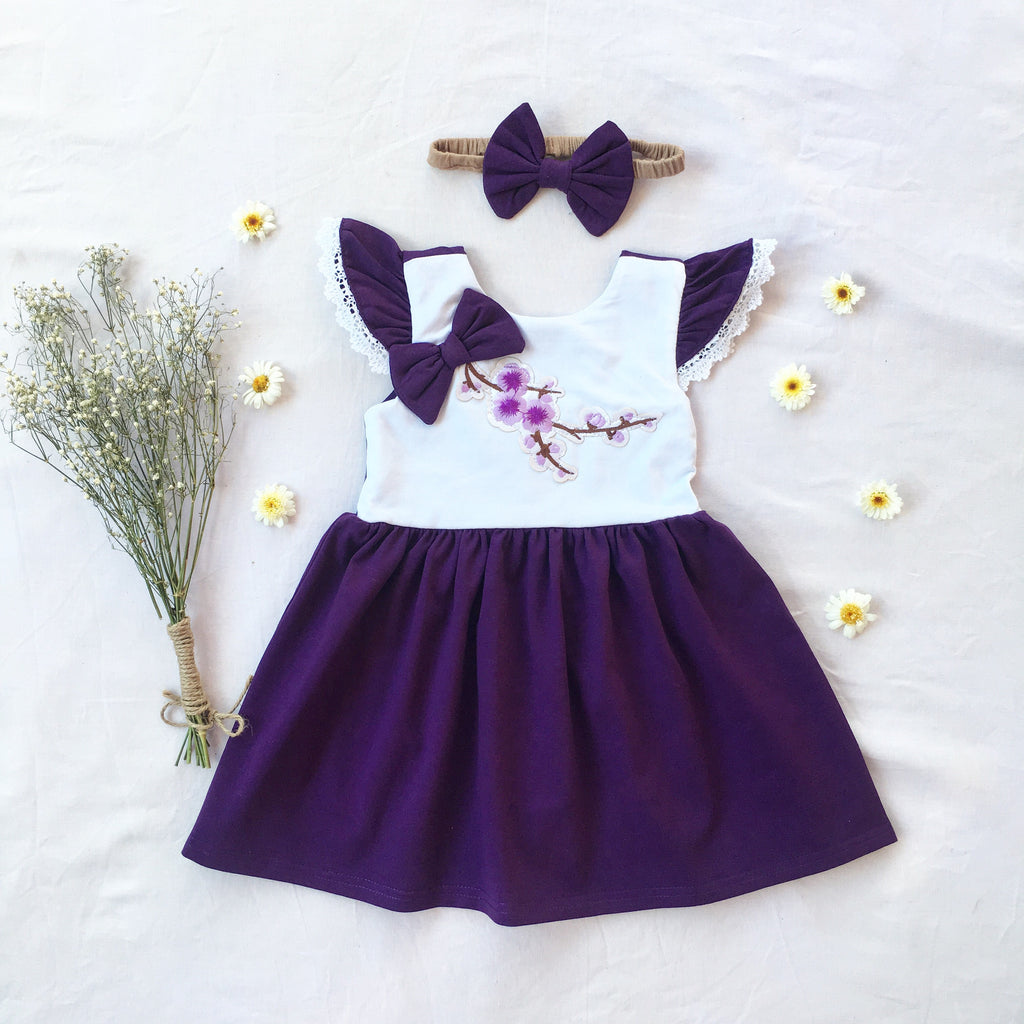 Purple Blossom Dress - Toots Kids
