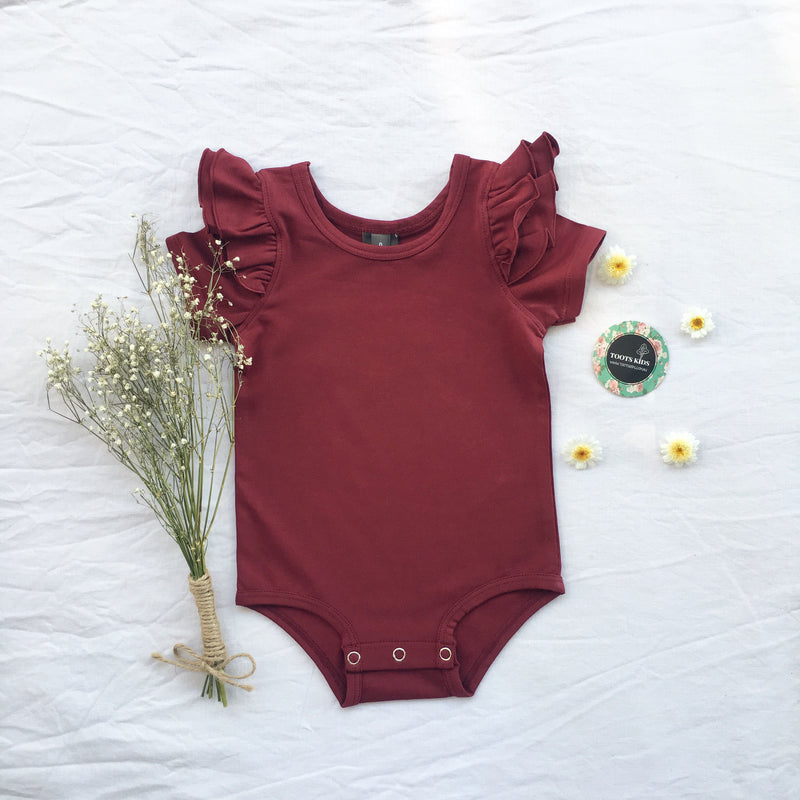 Merlot Wine short sleeve flutter - Toots Kids