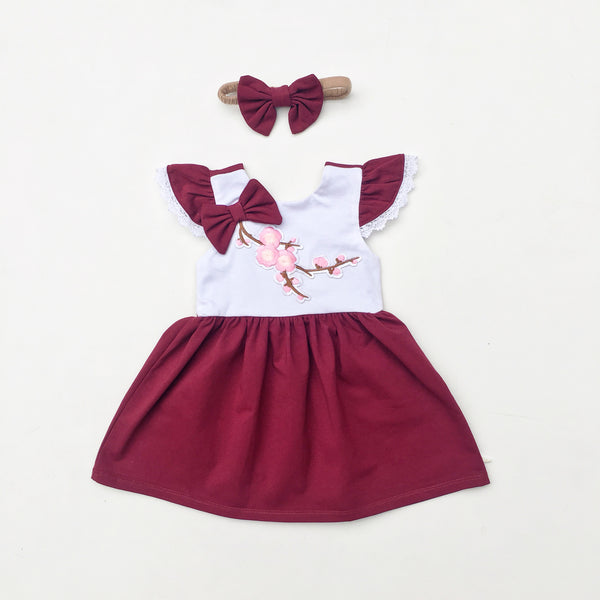 Wine Blossom Dress - Toots Kids