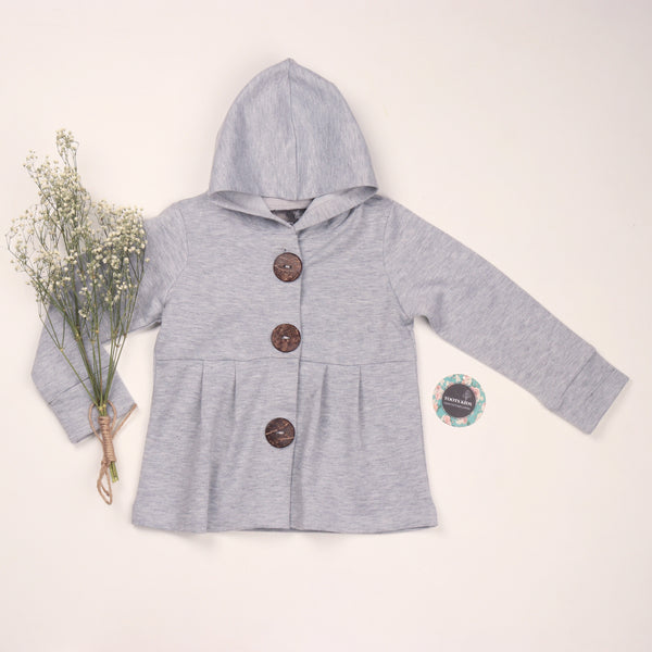 Grey button hoodie - Toots Kids