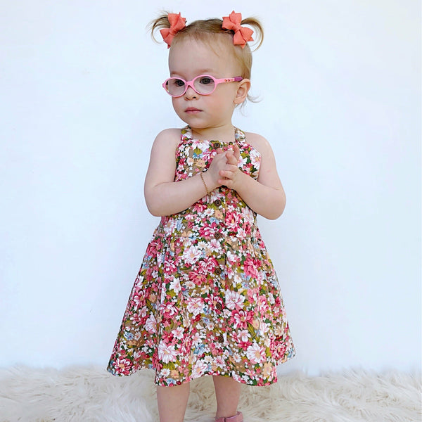 RILEY BUTTON DRESS - Toots Kids