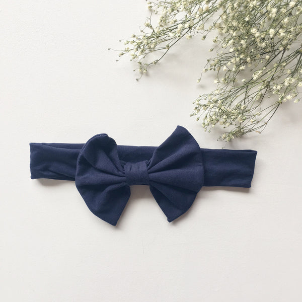 Navy knit bow headband - Toots Kids