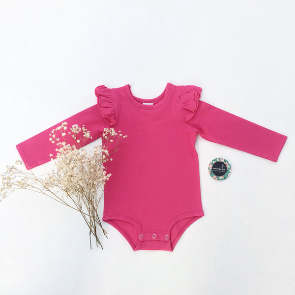 Ruby Pink long sleeve flutter - Toots Kids