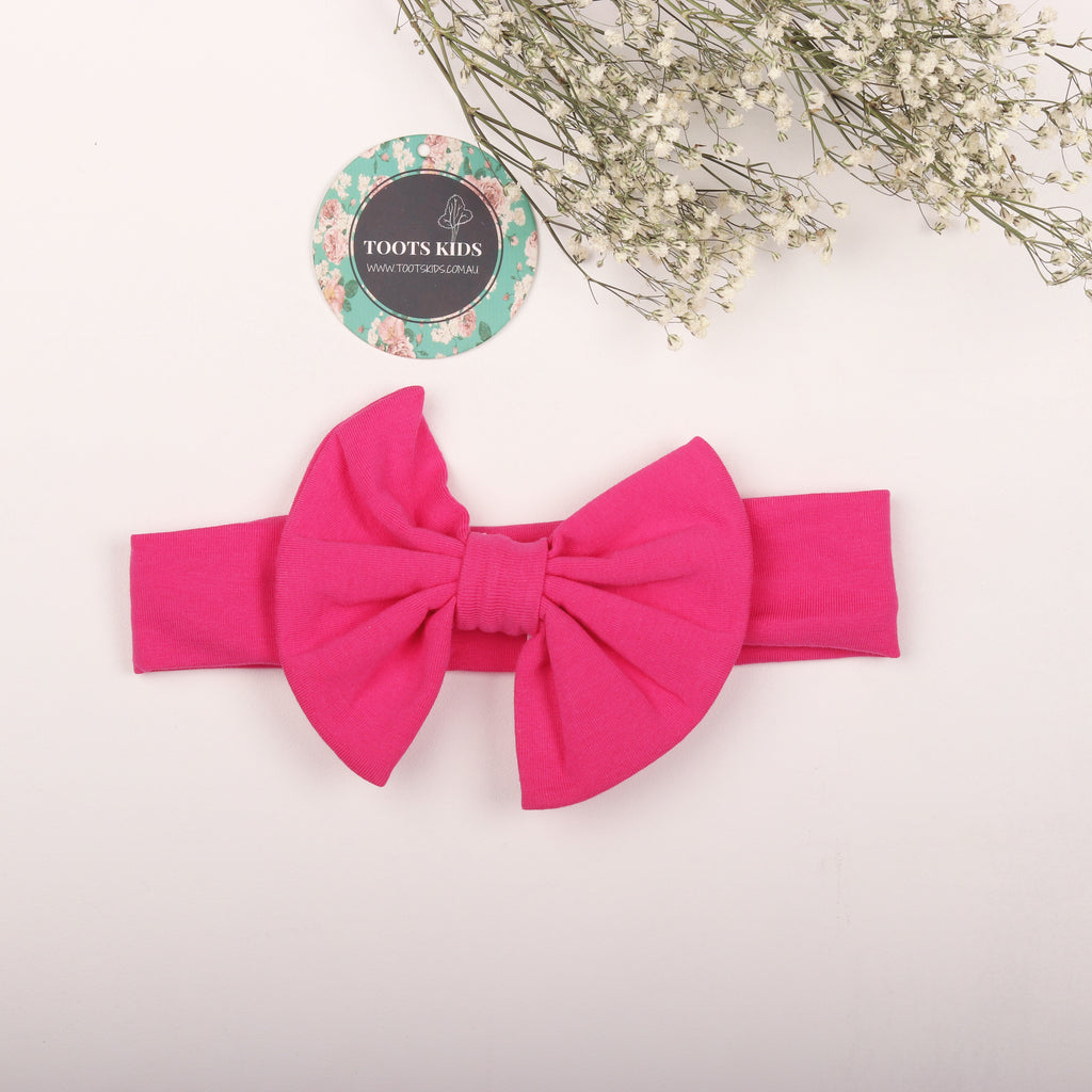 Ruby Pink Knit bow headband - Toots Kids