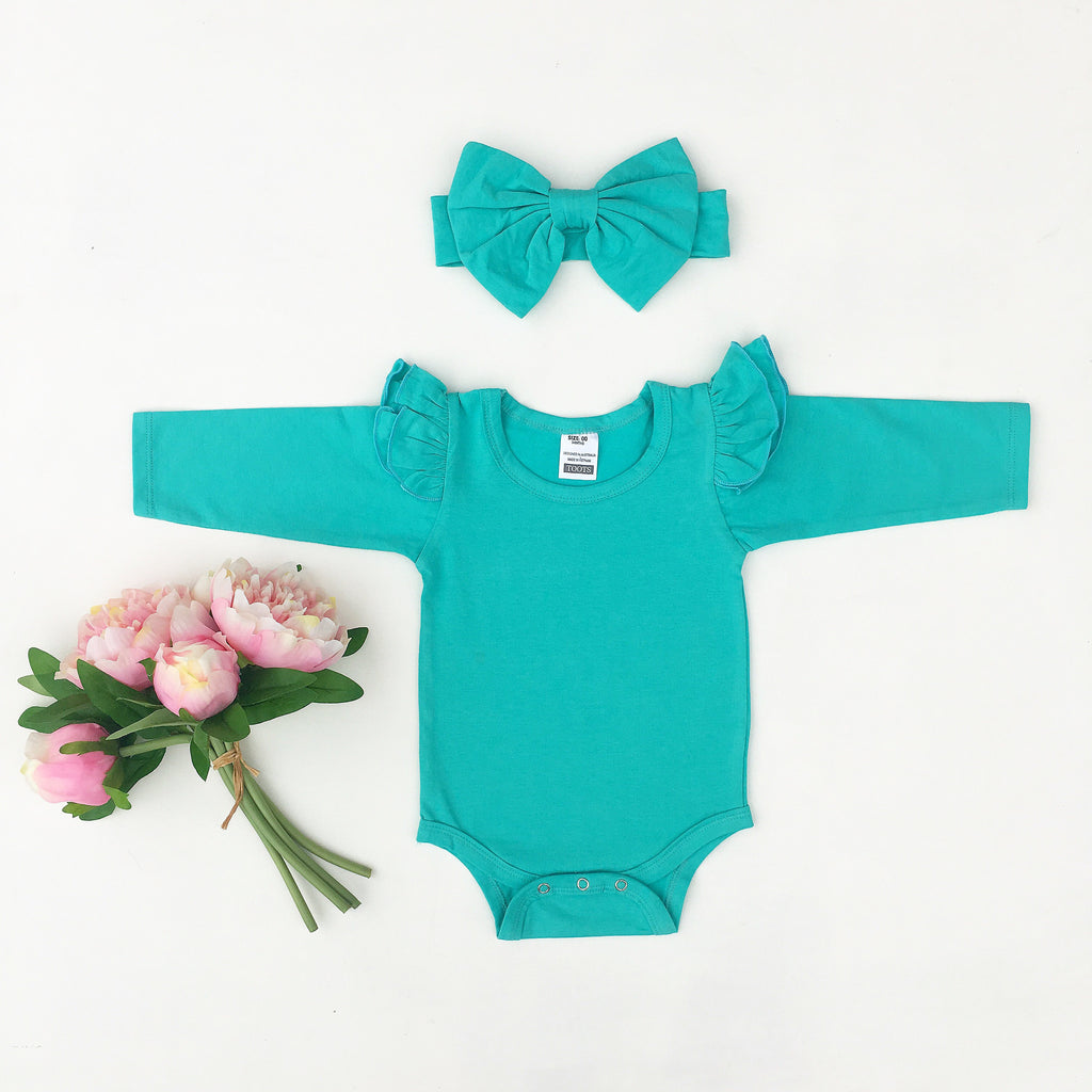 Tiffany blue Ruffled  long sleeve + headband