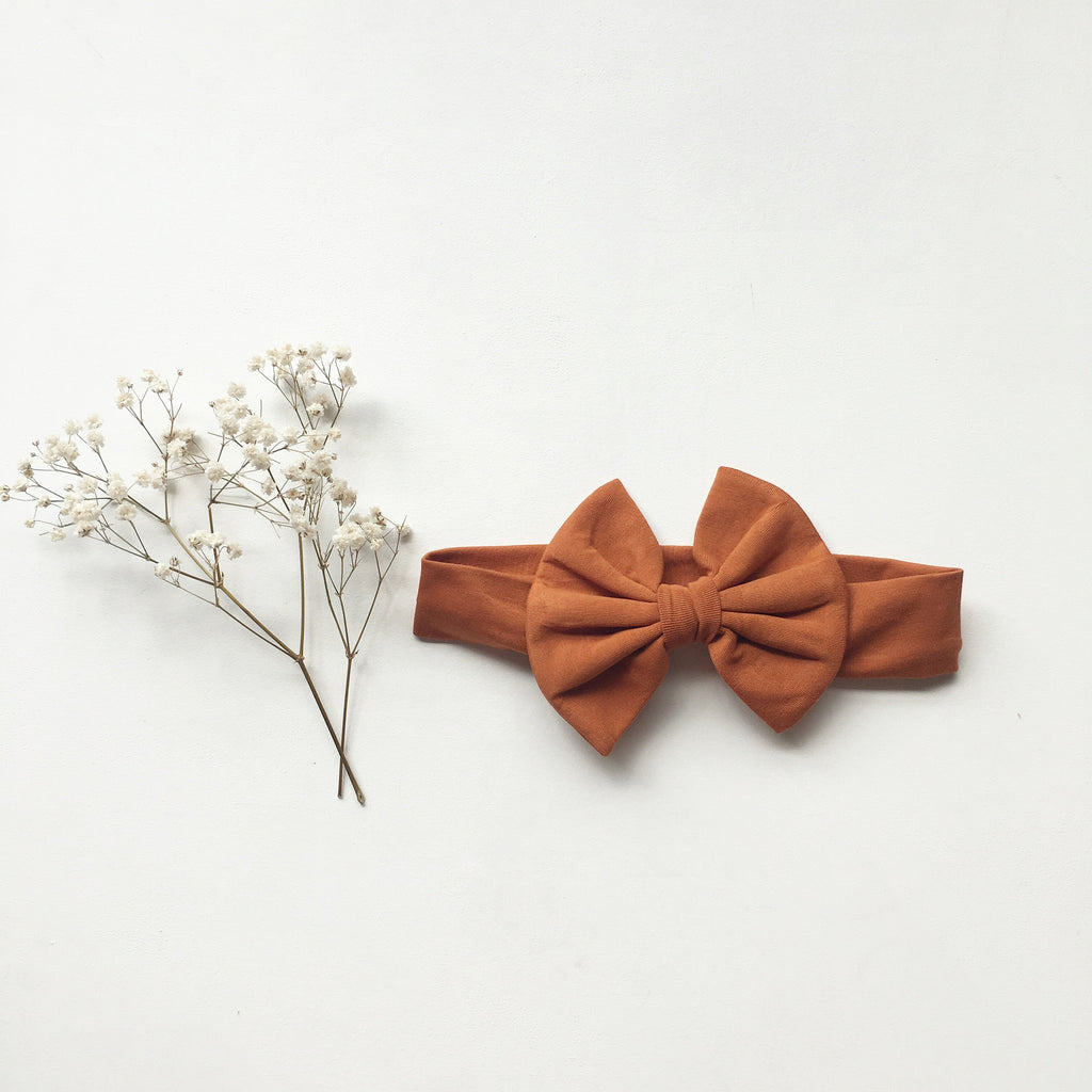 Burnt Orange Knit bow headband - Toots Kids