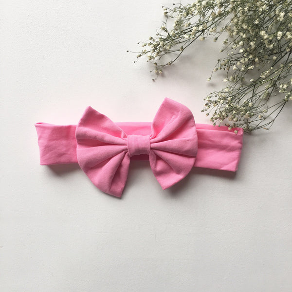 Bubblegum pink knit bow headband - Toots Kids