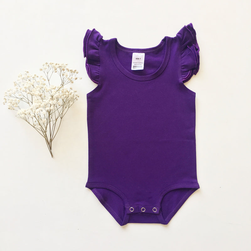 Purple Sleeveless Flutter- small fit - Toots Kids