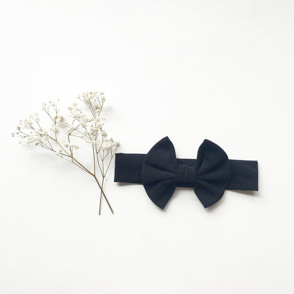 Black Knit bow headband - Toots Kids