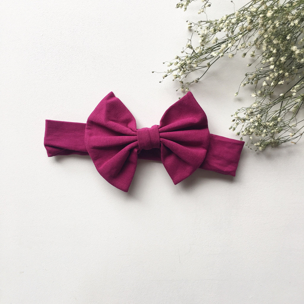 Magenta knit bow headband - Toots Kids