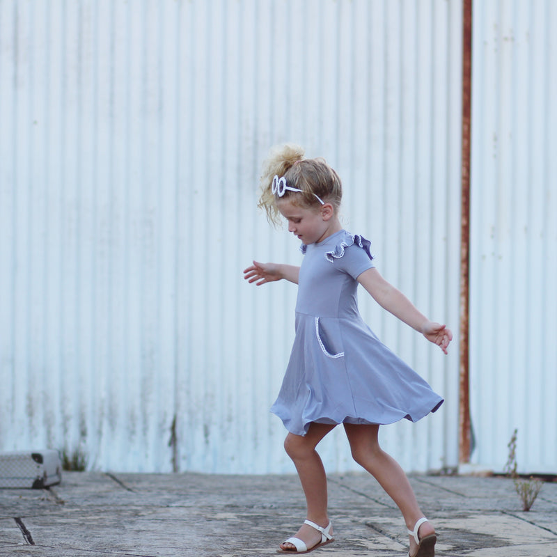 LILAC GREY TWIRLY GIRL DRESS