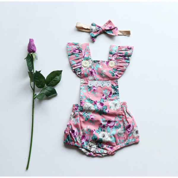 Sarah Button Romper - Toots Kids