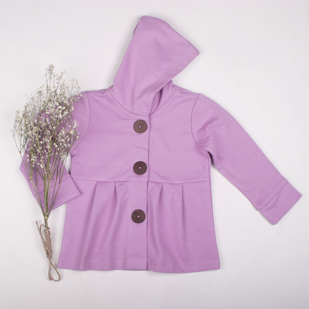 Lilac button hoodie - Toots Kids