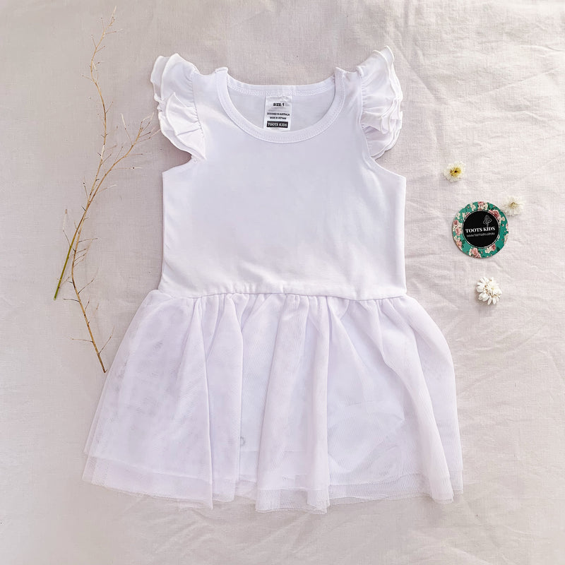 White Tutu Flutter romper /dress - Toots Kids