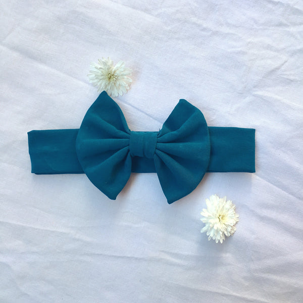 Teal Knit bow headband - Toots Kids