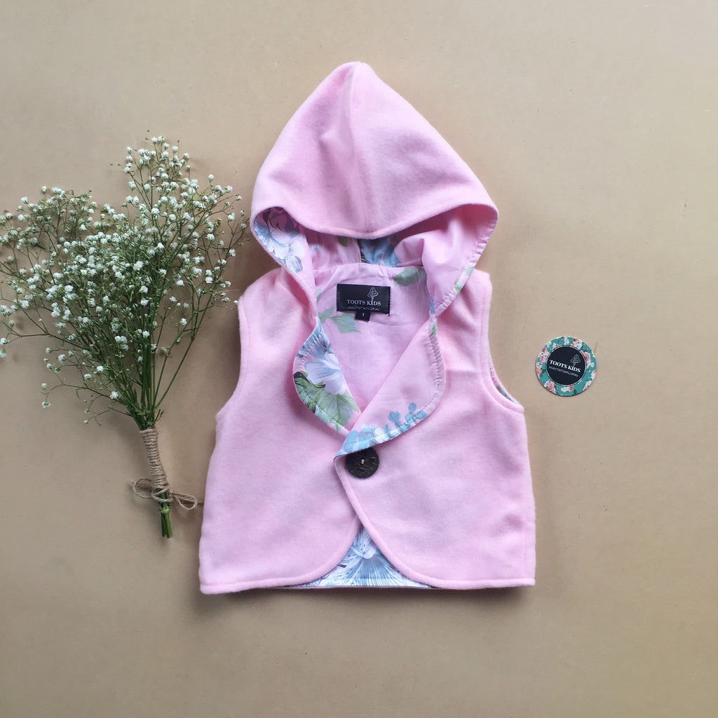 Baby Pink Hooded Vest - Toots Kids