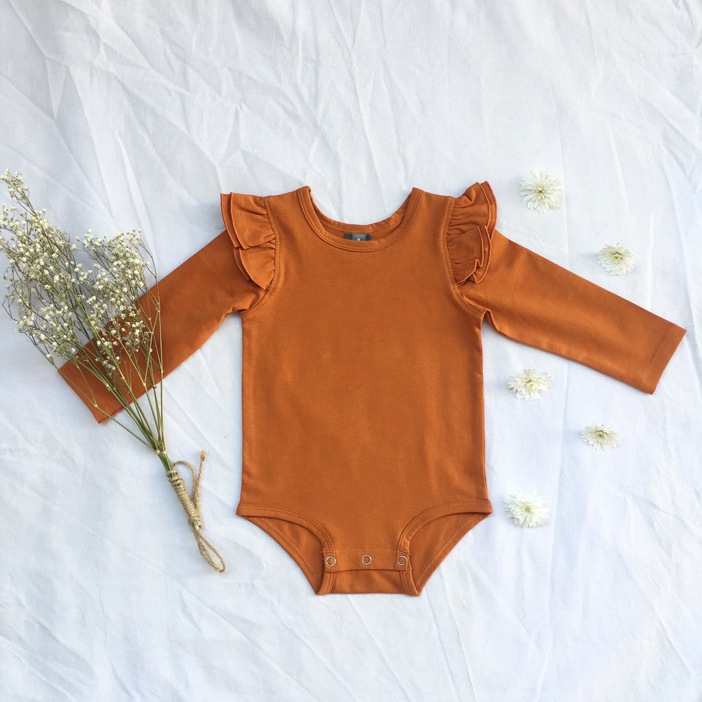 Burnt orange  long sleeve flutter - Toots Kids