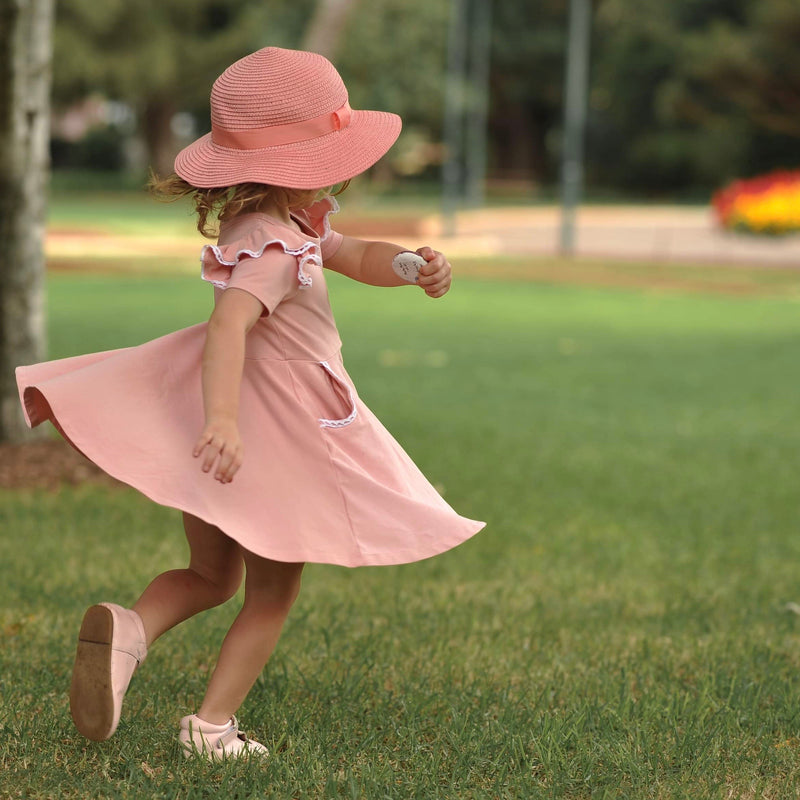 SOFT BLUSH PINK TWIRLY GIRL DRESS