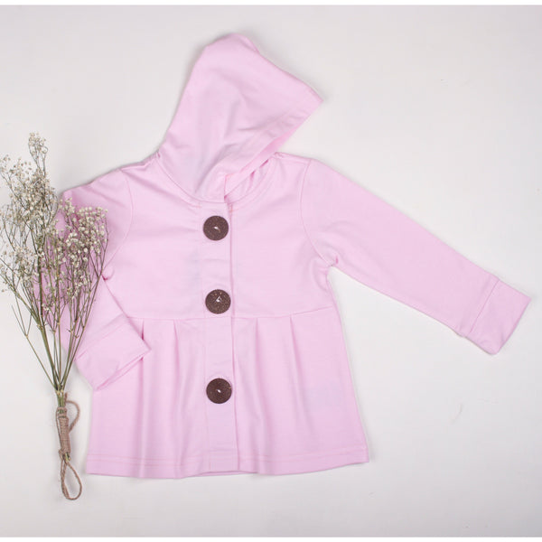 Baby pink button hoodie - Toots Kids