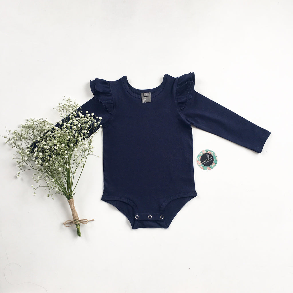 Navy long sleeve flutter - Toots Kids