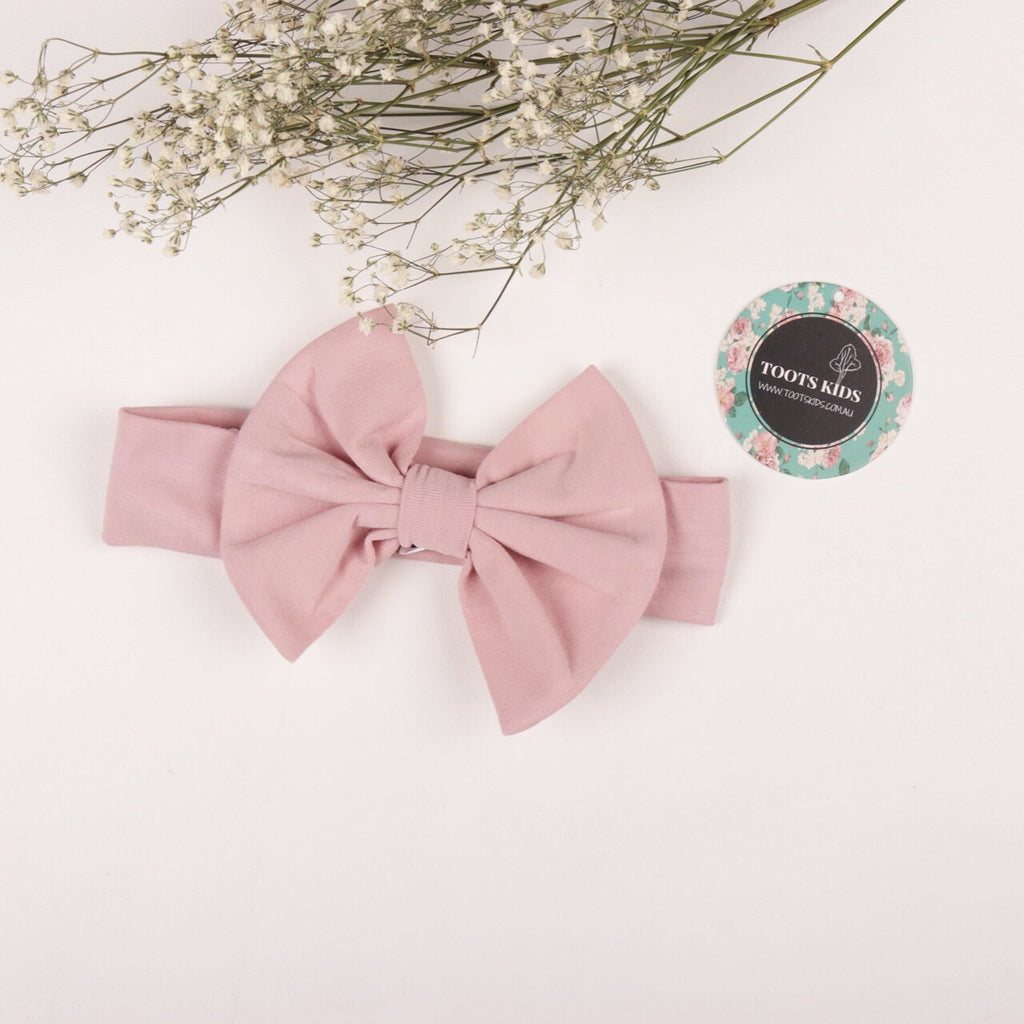 SOFT BLUSH knit bow headband - Toots Kids