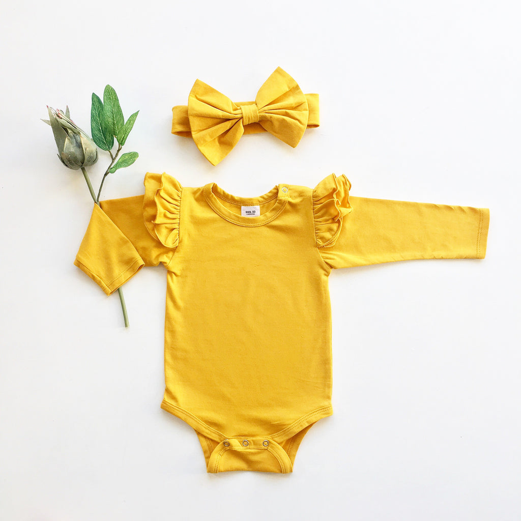 Mustard Ruffled  long sleeve + headband