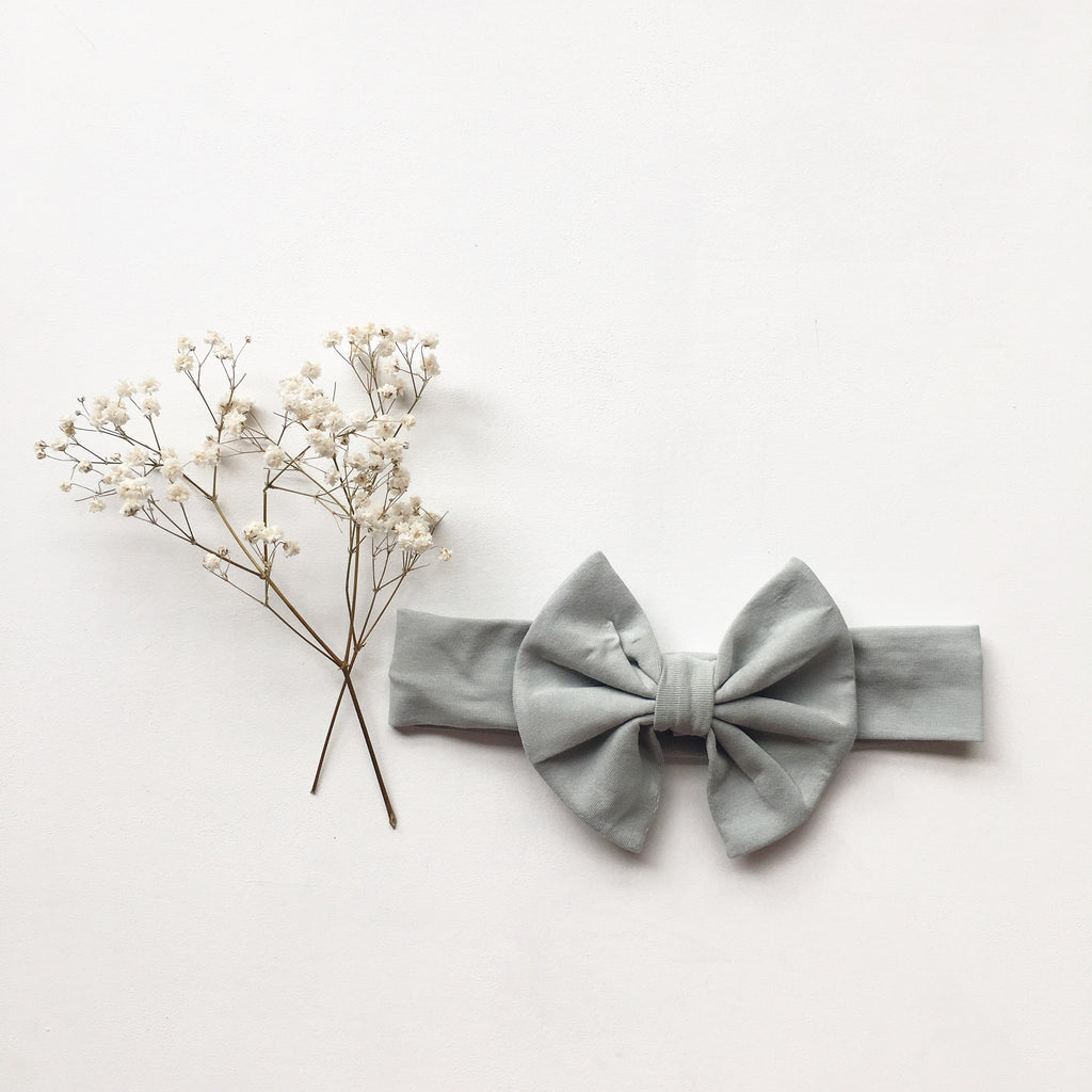 Cloud Grey- Knit bow headband - Toots Kids
