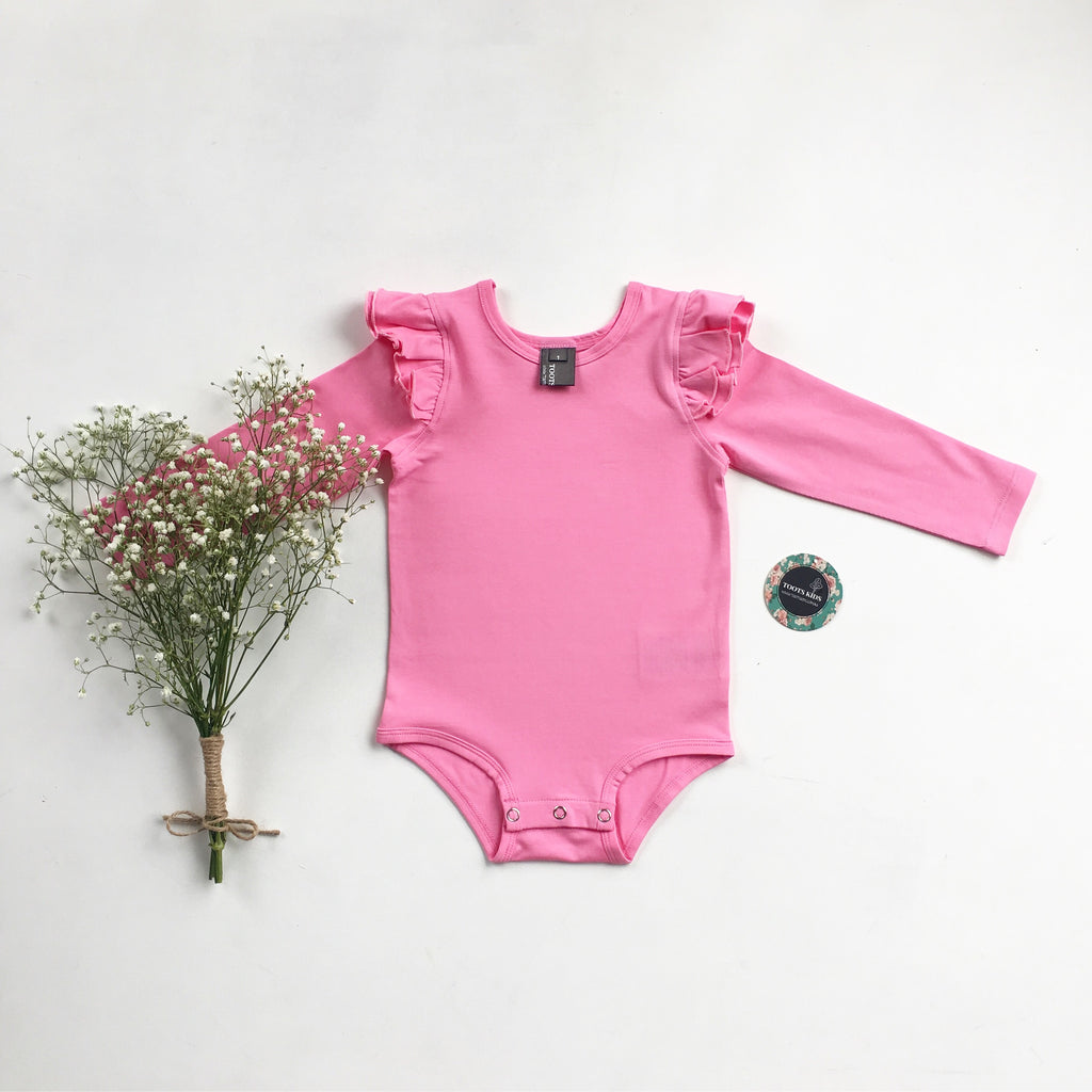 Bubble gum  long sleeve flutter - Toots Kids