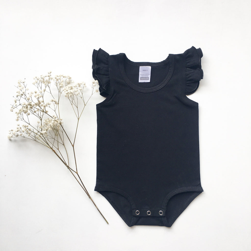 Black Sleeveless Flutter- small fit - Toots Kids