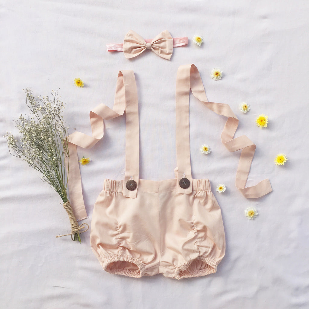 Nude Suspender Shorts - Toots Kids