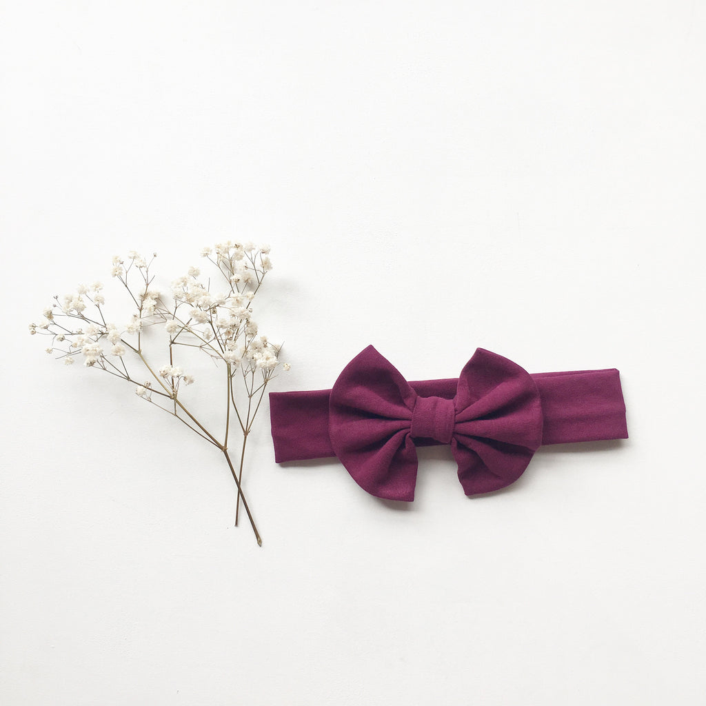 Boysenberry Knit bow headband - Toots Kids