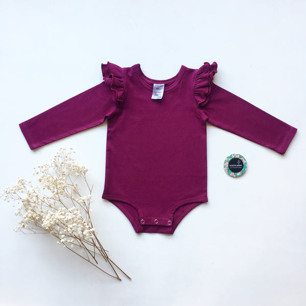 Boysenberry  long sleeve flutter - Toots Kids