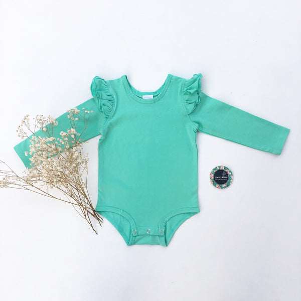 Turquoise Mint long sleeve flutter - Toots Kids
