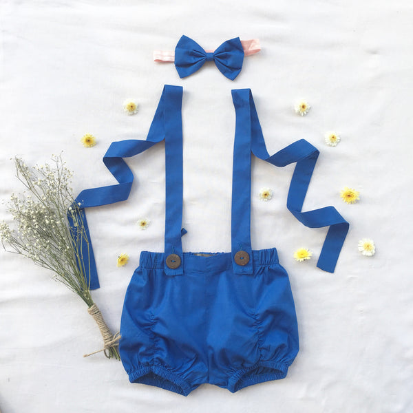Royal Blue Suspender Shorts - Toots Kids