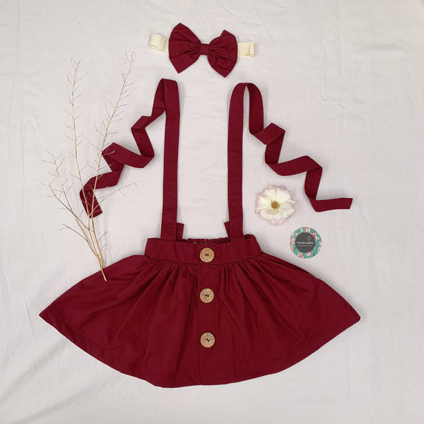 Wine Suspender Skirt - Toots Kids