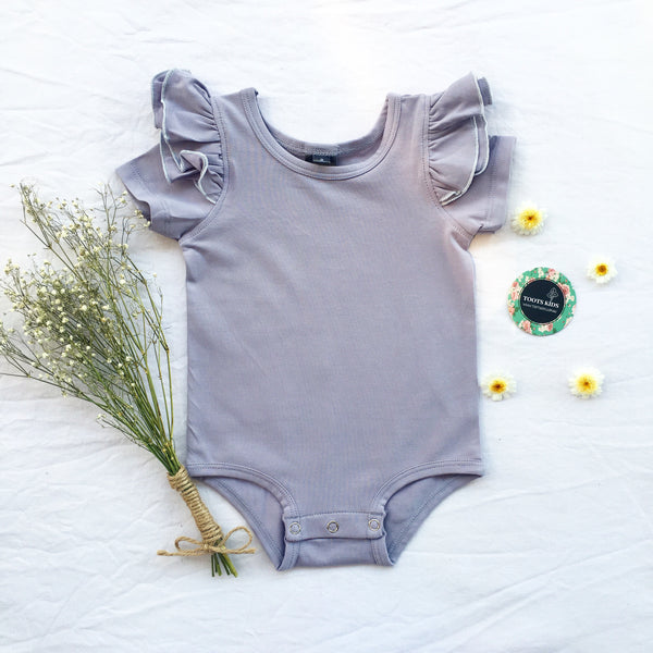 Lilac Grey short sleeve flutter - Toots Kids