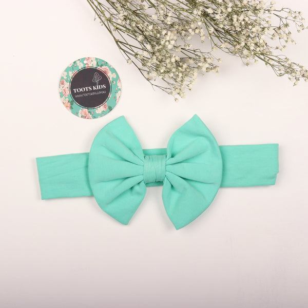 Turquoise Mint  Knit bow headband - Toots Kids