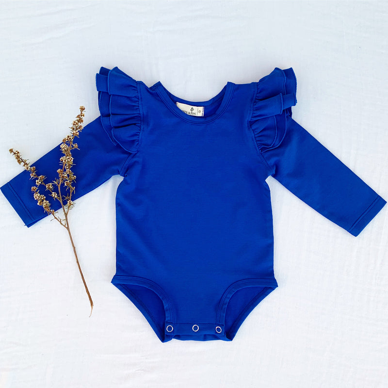 ROYAL BLUE LONG SLEEVE FLUTTER - Toots Kids