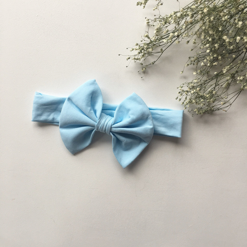 Sky blue knit bow headband - Toots Kids